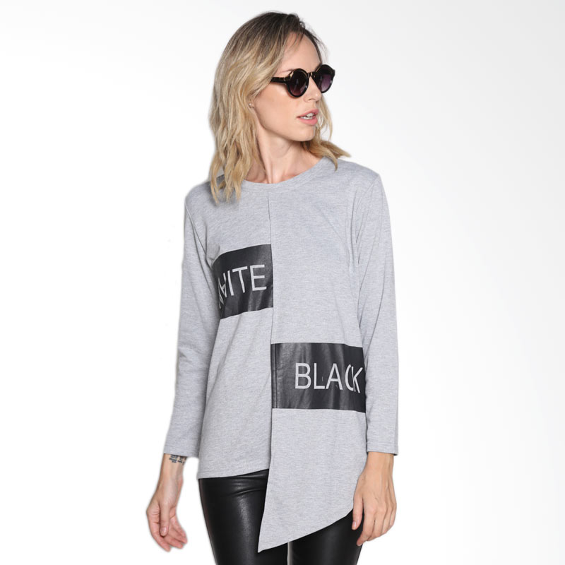 Carte Hilo Long Sleeve T-shirt Atasan Wanita - Grey