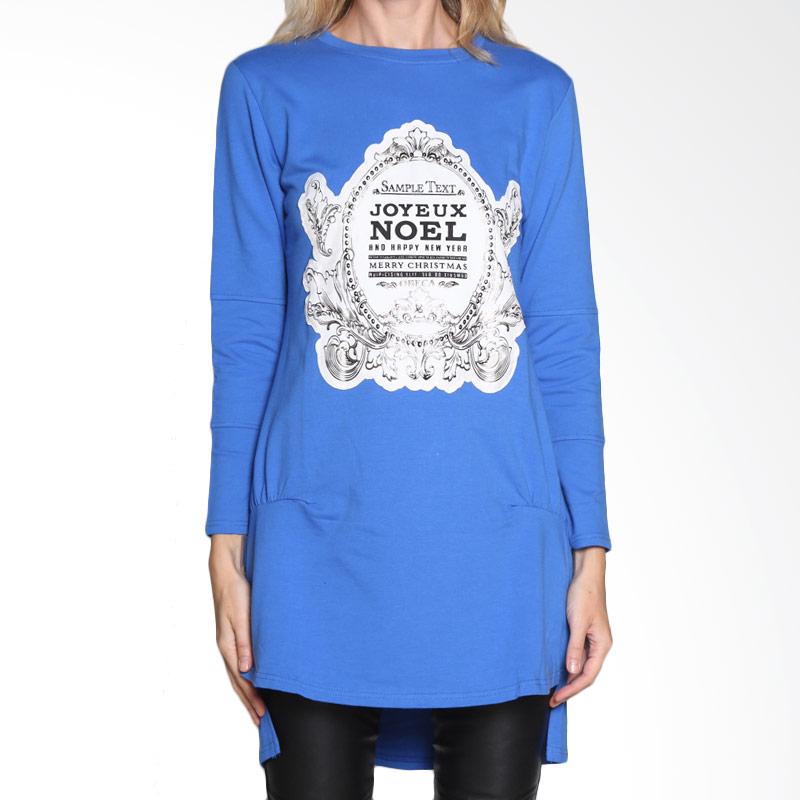 Carte Joyeux Long Shirt Atasan Wanita - Blue
