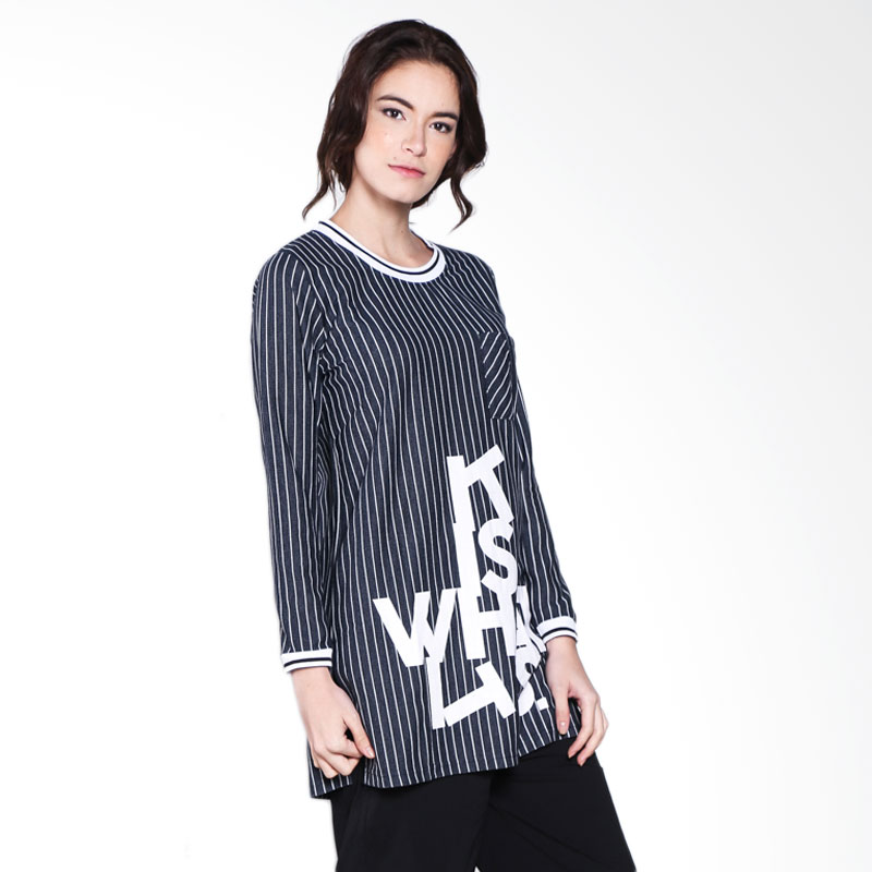 Carte Long Stripes Baseball Top - Dark Denim