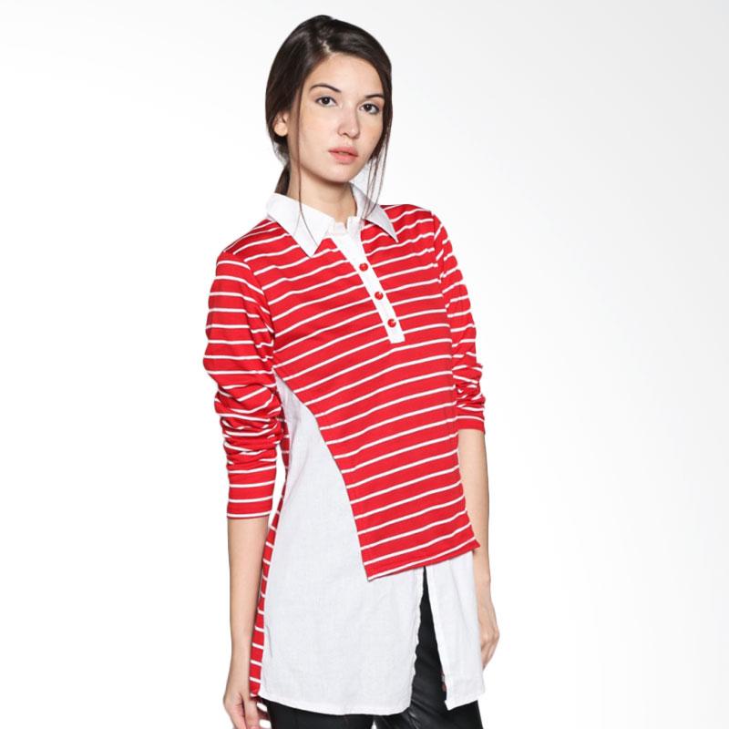 Carte Long Stripes Shirt Atasan Wanita - Red White