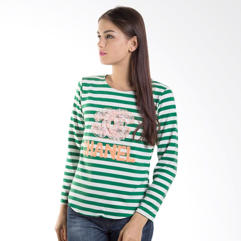 Carte Parisien Striped Green Atasan Wanita