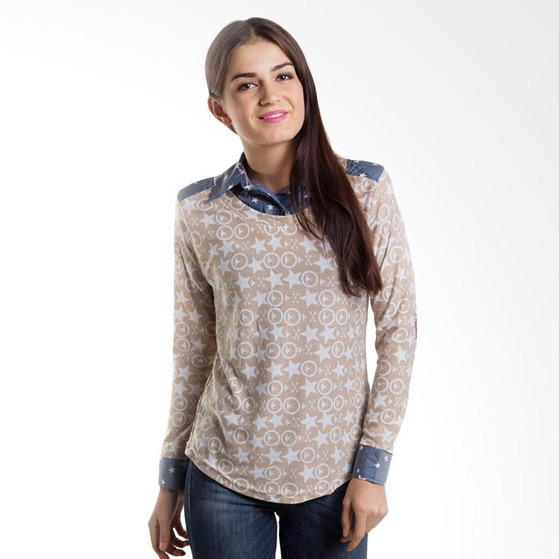 Carte Star With Denim Collar Cream Atasan Wanita