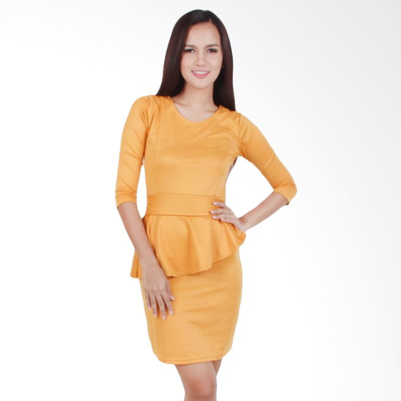 Carte Yellow Mustard Sleeved Peplum Dress