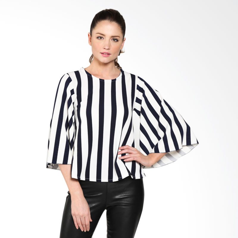 Carte Lady Chic Stripe Top Kimono Sleeve Atasan Wanita - Black White