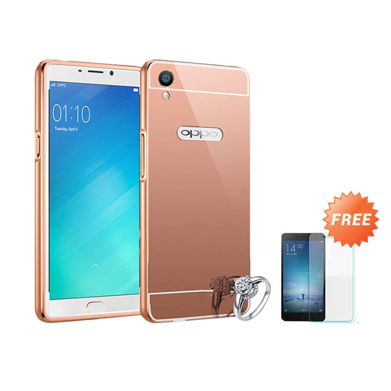 Best Seller Case Mirror Bumper for Oppo F1 Selfie Expert - Rose Gold + Free Tempered Glass