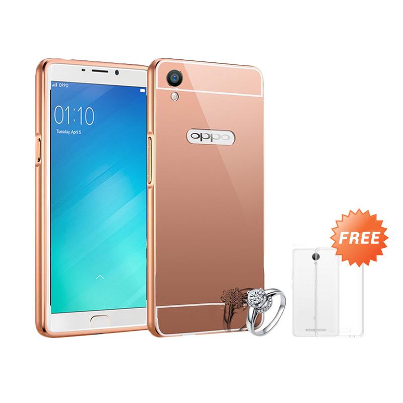 Best seller Case Mirror Bumper for Oppo F1 Selfie Expert - Rose Gold + Free Ultrathin