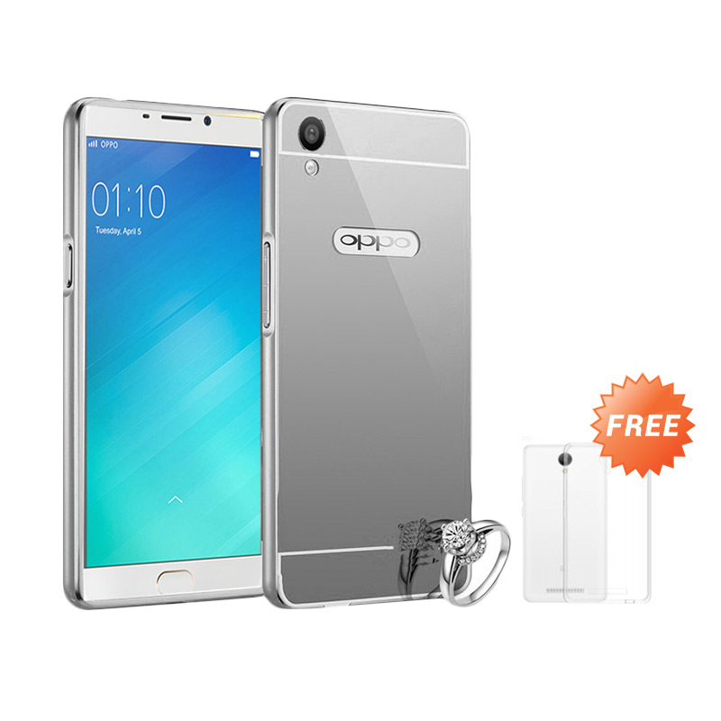Best seller Case Mirror Bumper for Oppo F1 Selfie Expert - Silver + Free Ultrathin