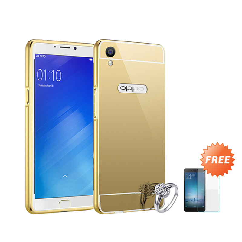 Best Seller Case Mirror Bumper for Oppo F1 Plus Selfie Expert - Gold + Free Tempered Glass