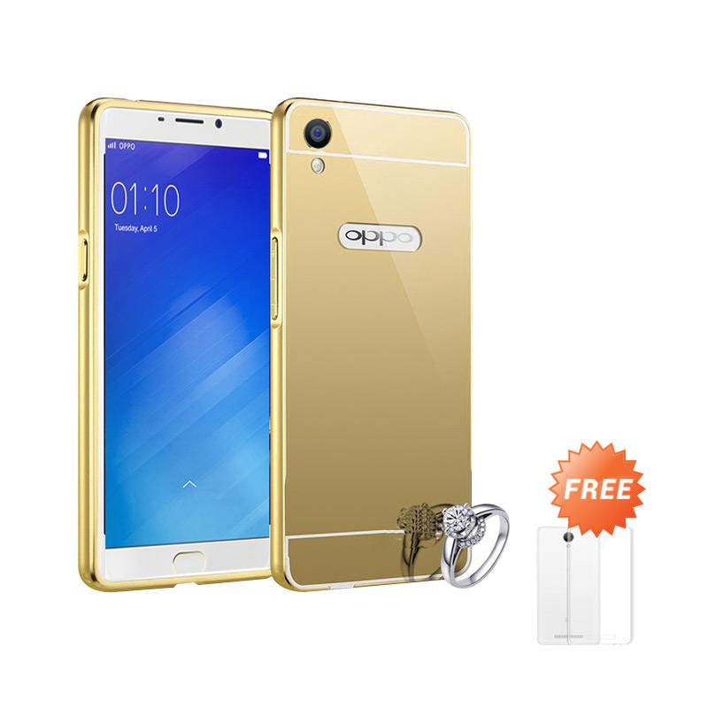 Best Seller Case Mirror Bumper for Oppo F1 Plus Selfie Expert - Gold + Free Ultrathin