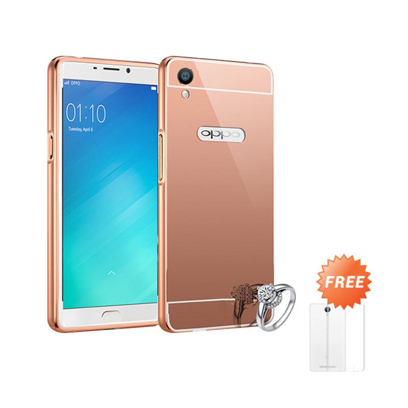 Best Seller Case Mirror Bumper for Oppo F1 Plus Selfie Expert - Rose Gold + Free Ultrathin