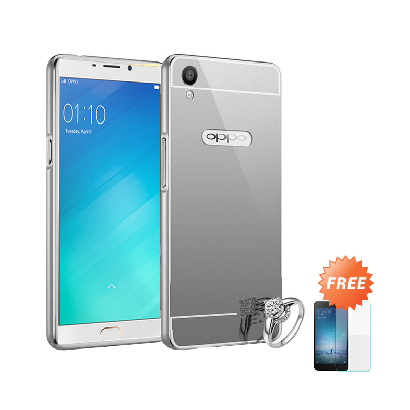Best Seller Case Mirror Bumper for Oppo F1 Plus Selfie Expert - Silver + Free Tempered Glass