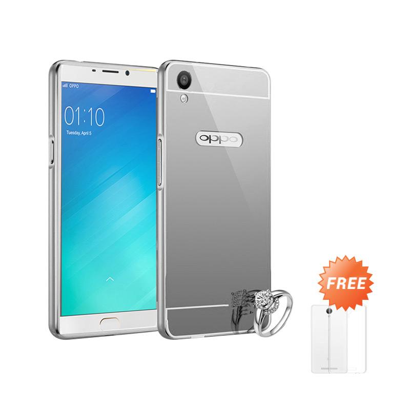Best Seller Case Mirror Bumper for Oppo F1 Plus Selfie Expert - Silver + Free Ultrathin