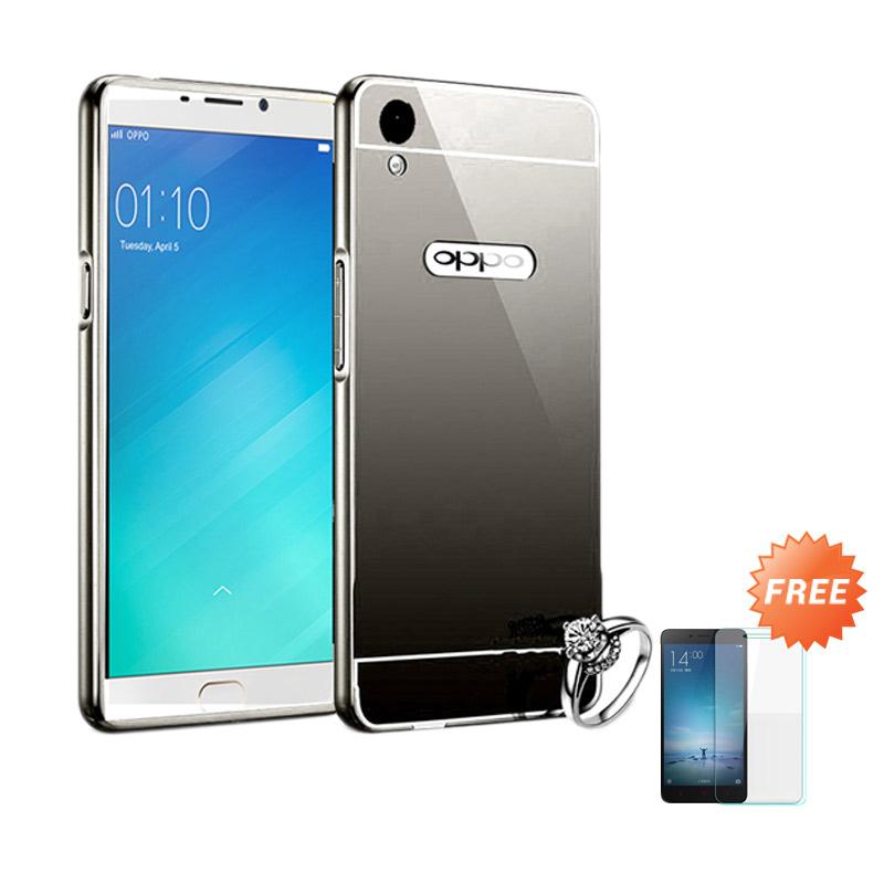 Best seller Case Mirror Bumper for Oppo F1 Selfie Expert - Hitam + Free Tempered Glass