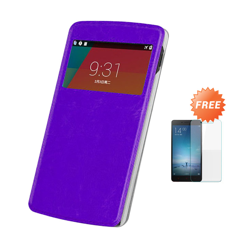 Case Flip Cover Casing for OPPO Joy R1001 - Ungu + Free Tempered Glass Screen Protector