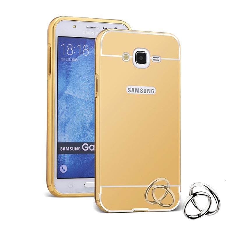 Case Aluminium Metal Bumper Mirror Backcase Hardcase Casing for Samsung Galaxy Grand Prime G530H - Gold