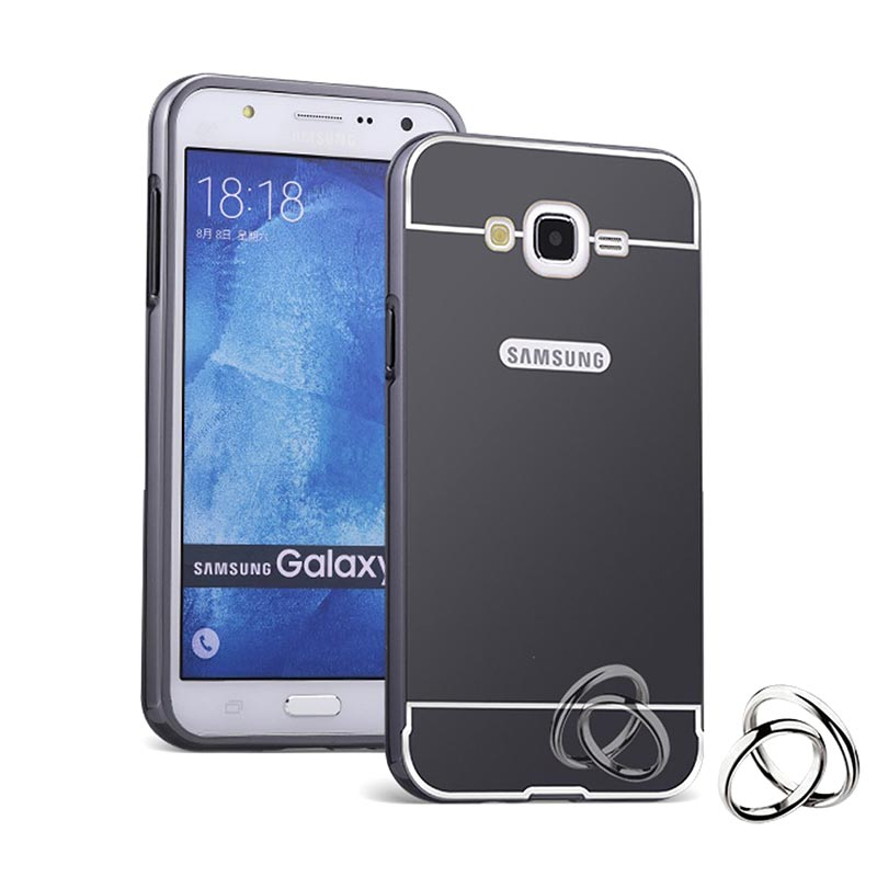 Case Aluminium Metal Bumper Mirror Backcase Hardcase Casing for Samsung Galaxy J2 J200 - Hitam
