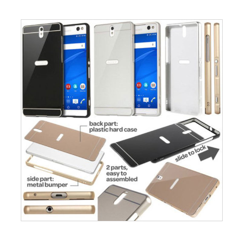 Case Bumper Metal Sliding Backcase Casing for Xiaomi Redmi Note 2 Prime - Silver