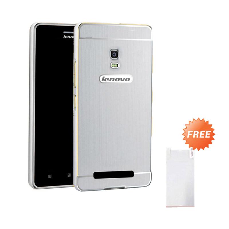 harga Case Elegant Aluminium Bumper with Polycarbonate Slide Casing for Lenovo A1000 - Silver + Free Ultrathin Blibli.com