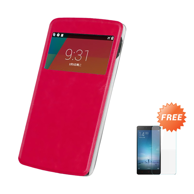 Case Flip Cover Casing for Samsung Galaxy A5 - Magenta + Free Tempered Glass Screen Protector