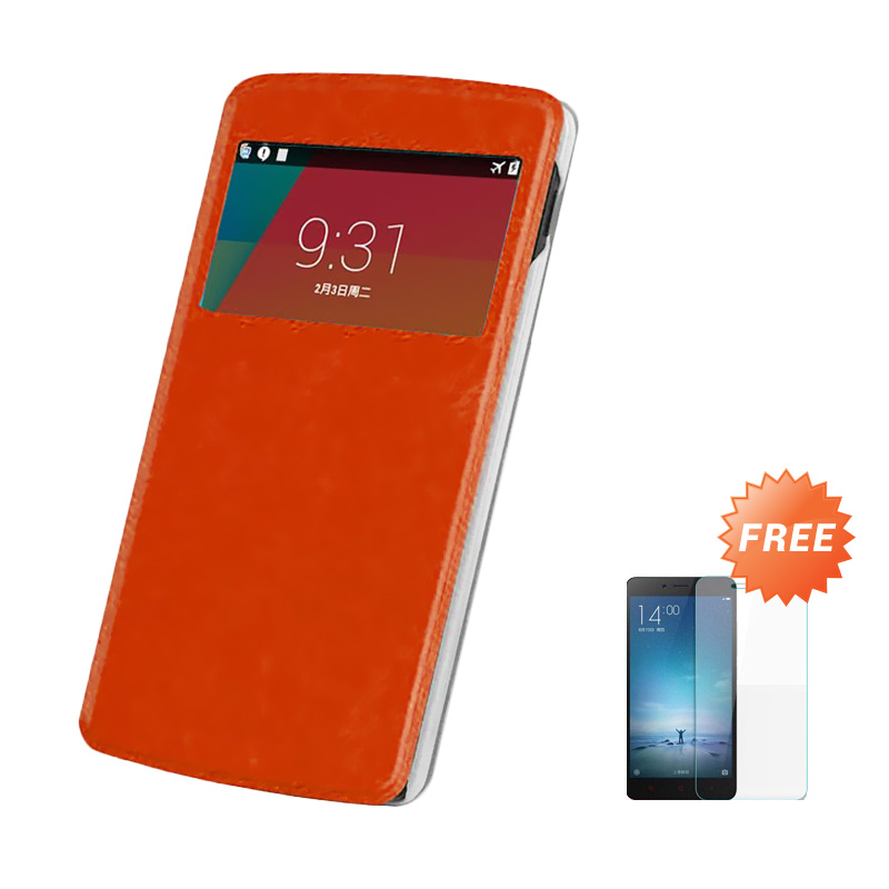 Case Flip Cover Casing for Samsung Galaxy A8 - Brown + Free Tempered Glass Screen Protector
