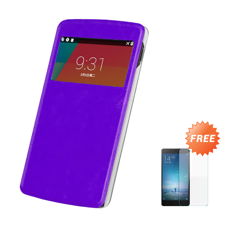 Case Flip Cover Casing for Samsung Galaxy Grand 2 7106 - Ungu + Free Tempered Glass Screen Protector