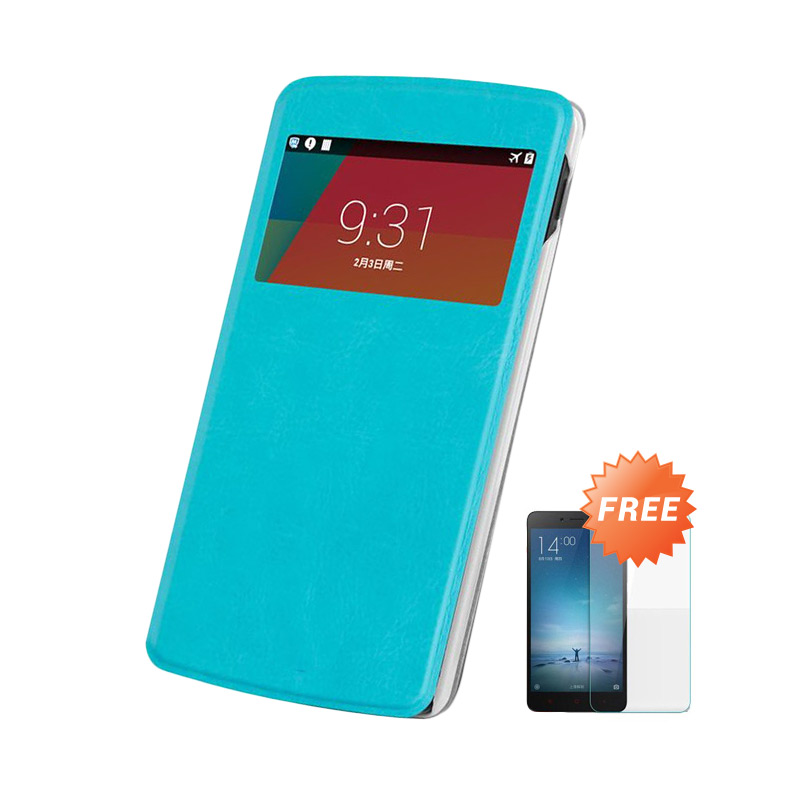 Case Flip Cover Casing for Asus Zenfone 5 - Blue sea + Free Tempered Glass Screen Protector