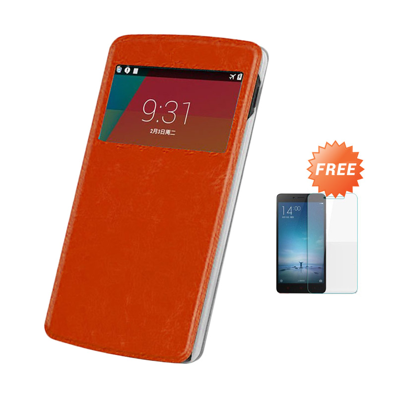 Case Flip Cover Casing for Asus Zenfone 5 - Brown + Free Tempered Glass