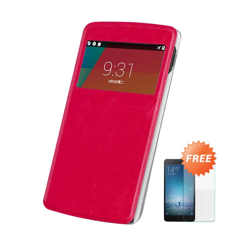 Case Flip Cover For Asus Zenfone 5  - Merah + Gratis Tempered Glass