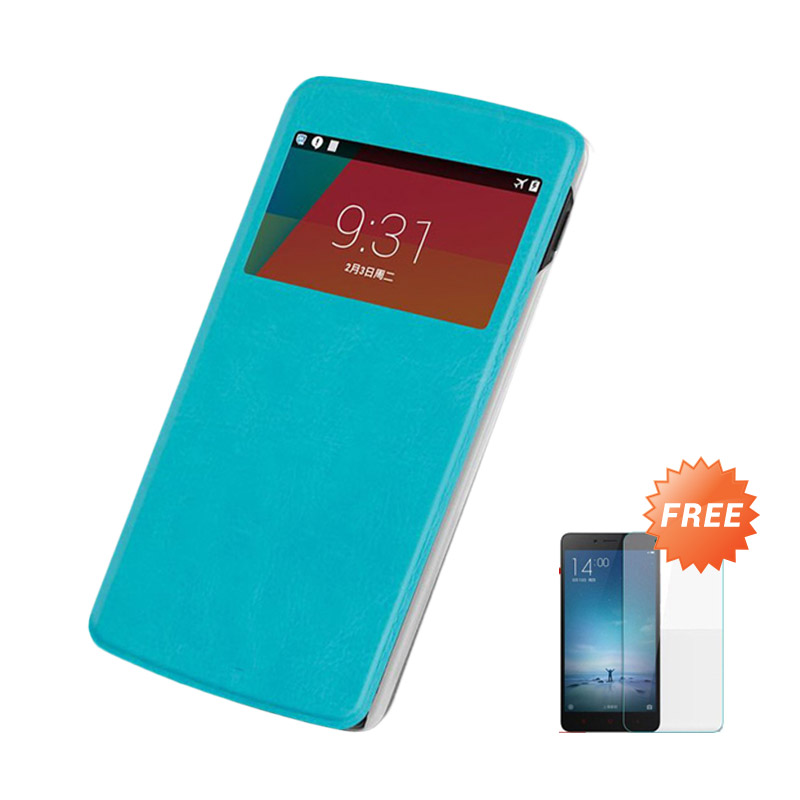 Case Flip Cover Casing for Asus Zenfone 6 - Blue Sea + Gratis Tempered Glass Screen Protector