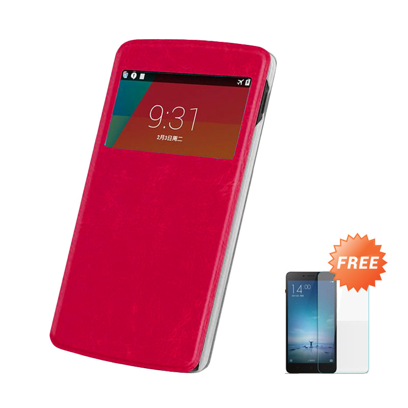 Case Flip Cover Casing for Asus Zenfone 6 - Merah + Free Tempered Glass Screen Protector