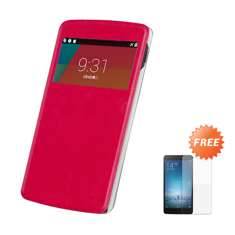 Case Flip Cover Casing for OPPO Joy R1001 - Merah + Free Tempered Glass Screen Protector