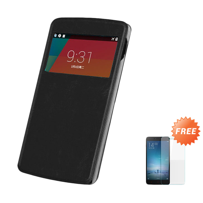 Case Flip Cover Casing for OPPO Yoyo R2001 - Black + Free Tempered Glass Screen Protector