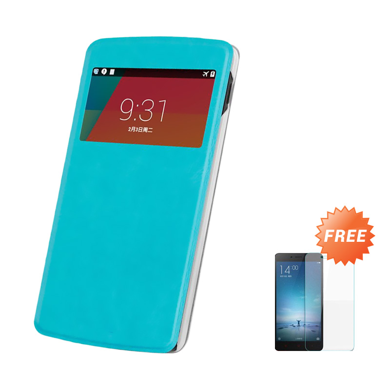 Case Flip Cover for Samsung Galaxy A3 - Blue sea + Free Tempered Glass Screen Protector