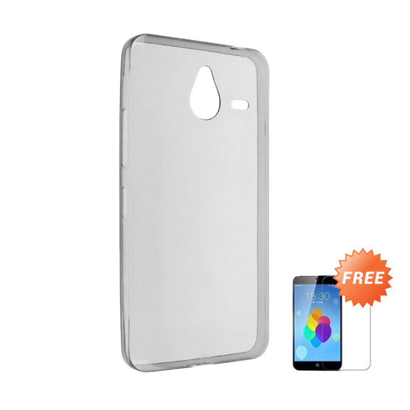 Case Ultra Thin Softcase Casing for Smartfren Andromax R2 - Abu Abu + Free Tempered Glass