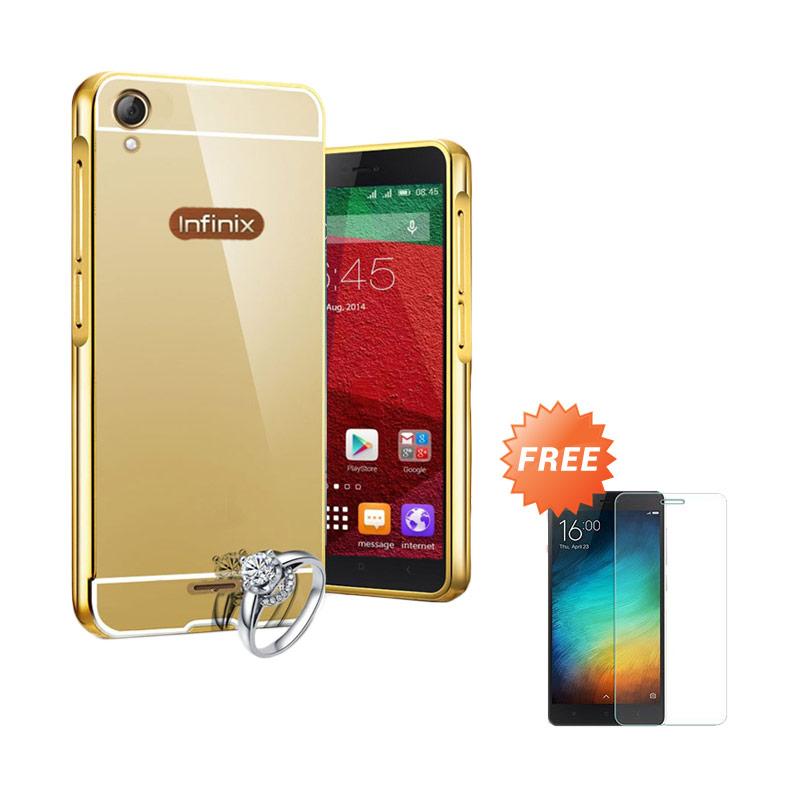 Case Metal Alluminium Bumper Mirror Casing for Infinix Hot Note X551 Gold Free Tempered