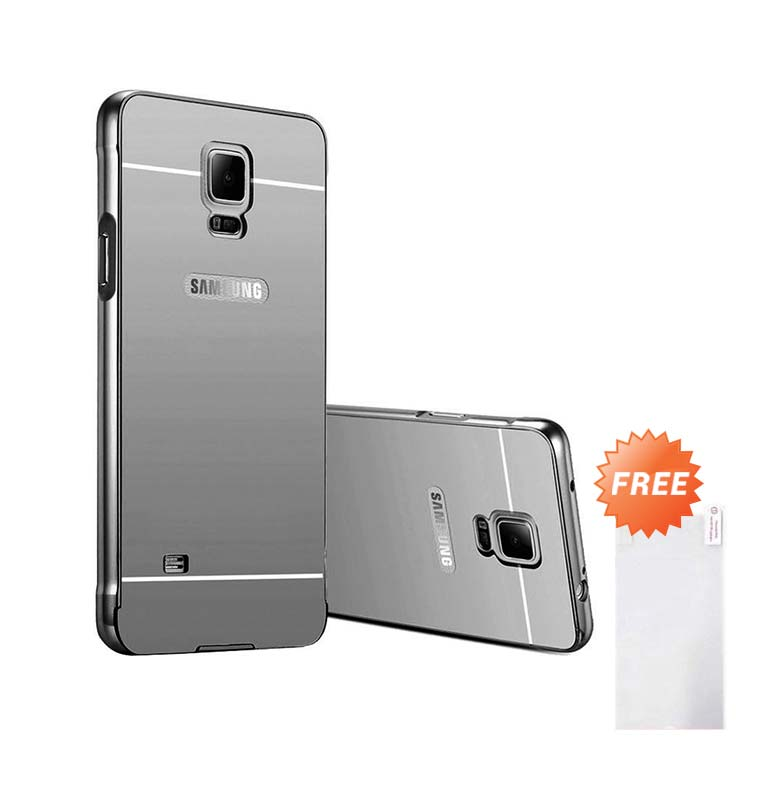 harga Case Aluminium Bumper Mirror Slide Casing for Samsung Galaxy Note 4 - Hitam + Free Tempered Glass Blibli.com