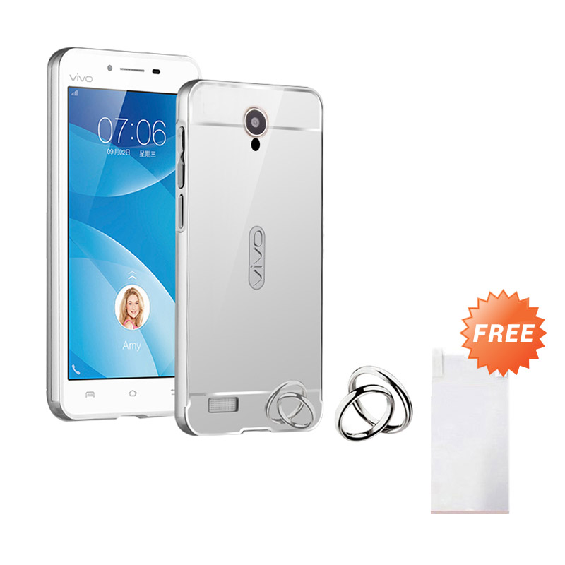 Case Mirror Aluminium Bumper With Mirror Slide Casing for Vivo y21 Silver Free .