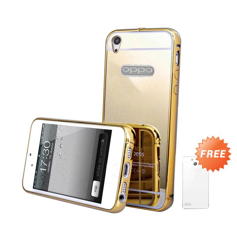 Case Mirror Bumper Casing for OPPO Mirror 5S or A51T - Gold + Free Ultrathin Casing [Best Seller]