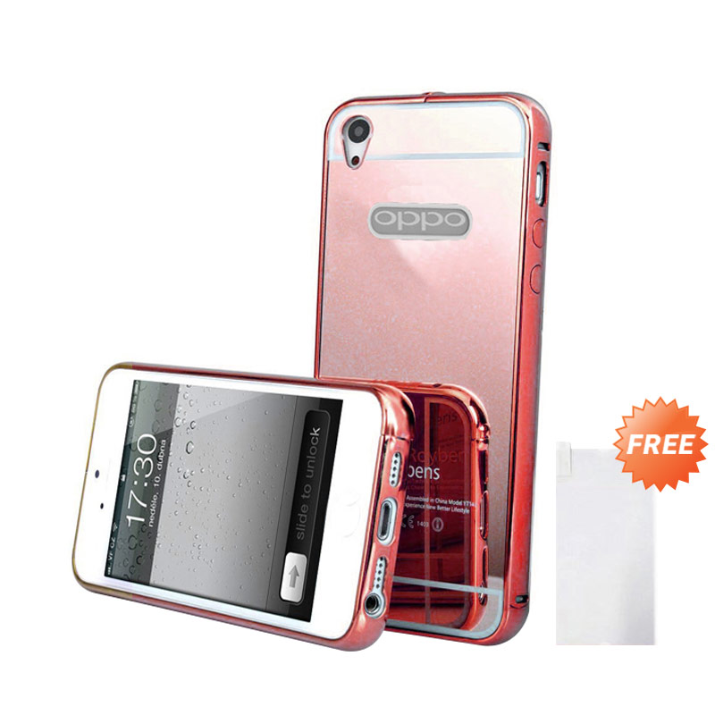 Case Mirror Bumper Casing for OPPO Mirror 5S or A51T - Rose Gold + Free Tempered Glass Screen Protector [Best Seller]