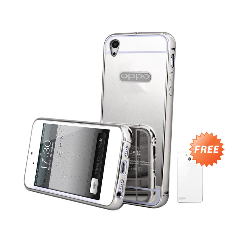 Case Mirror Bumper Casing for OPPO Mirror 5S or A51T - Silver + Free Ultrathin Casing [Best Seller]