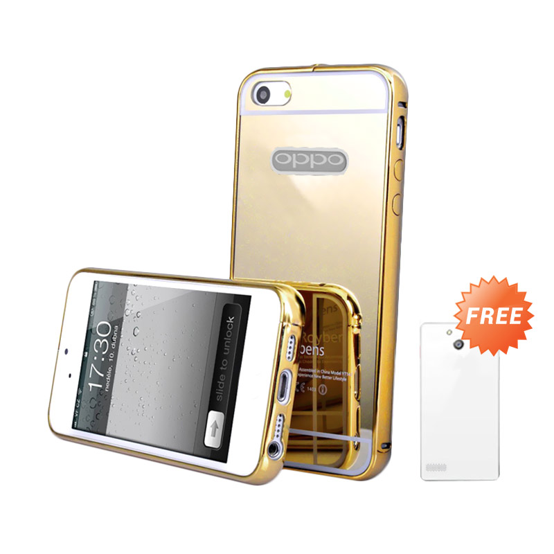 Case Mirror Bumper Casing for OPPO Neo 7 or A33 - Gold + Free Ultrathin Casing [Best Seller]