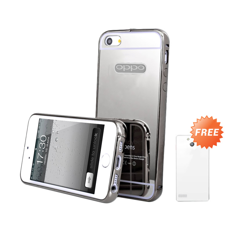 Case Mirror Bumper Casing for OPPO Neo 7 or A33 - Silver + Free Ultrathin Casing [Best Seller]