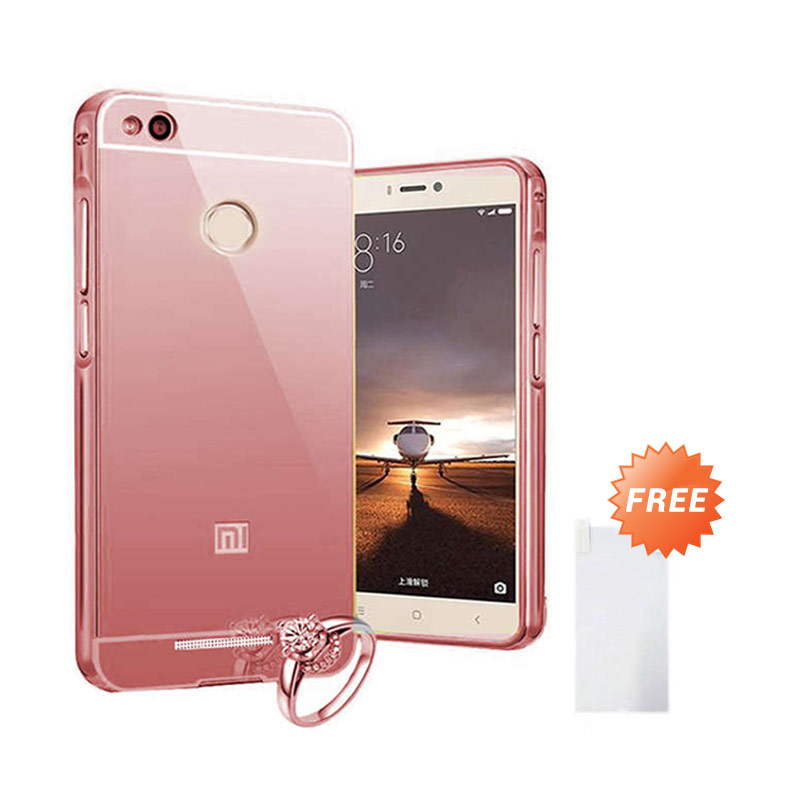Case Mirror Bumper with Sliding Casing for Xiaomi mi4s - Rose Gold + Free Tempered Glass