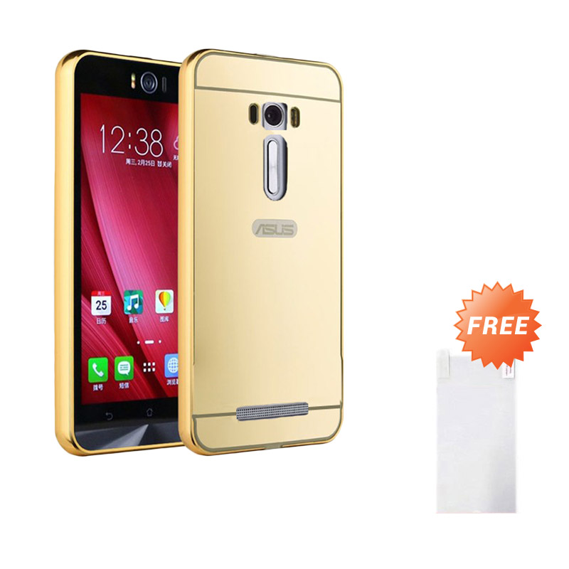 Case Twins Aluminium Bumper Slide Mirror Casing for Asus Zenfone 3 - Gold + Free Tempered Glass Screen Protector
