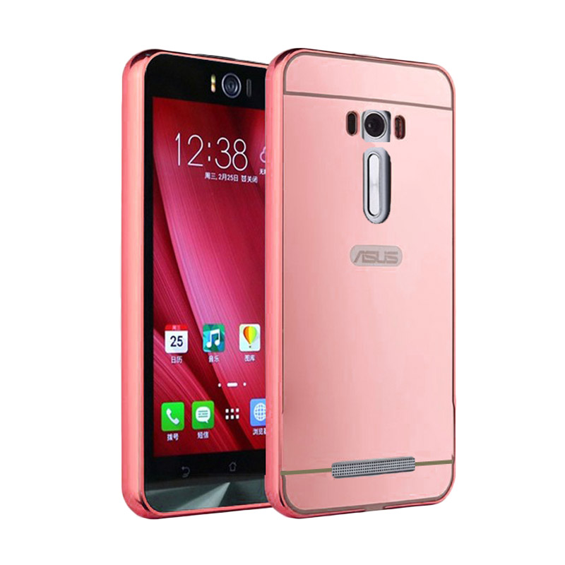 Case Twins Aluminium Bumper Slide Mirror Casing for Asus Zenfone 3 - Rose Gold
