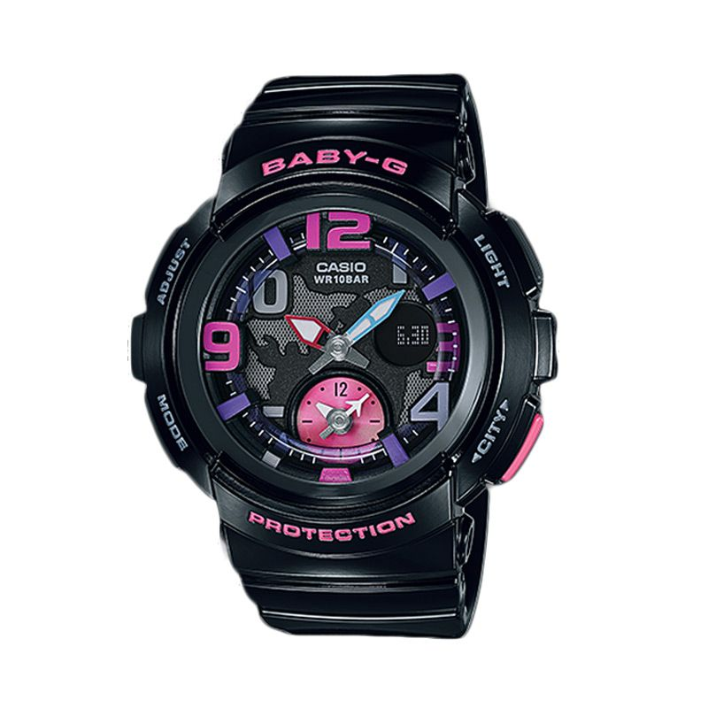 Casio Baby-G BGA-190-1BDR Dual Dial Black Jam Tangan Wanita