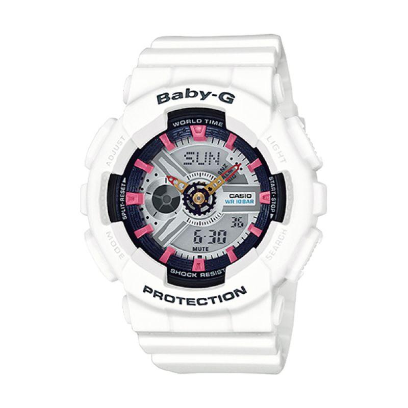 Casio Baby-G BA-110SN-7A White Pink Jam Tangan Wanita