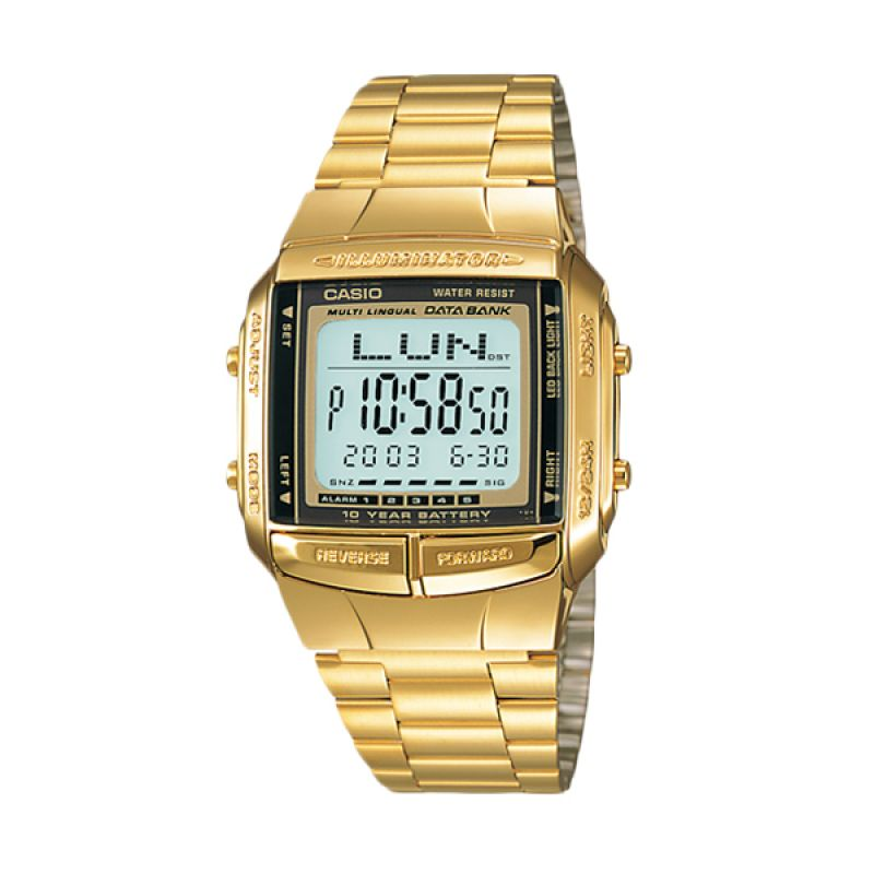 CASIO DB-360G-9A Data Bank Gold Jam Tangan Wanita