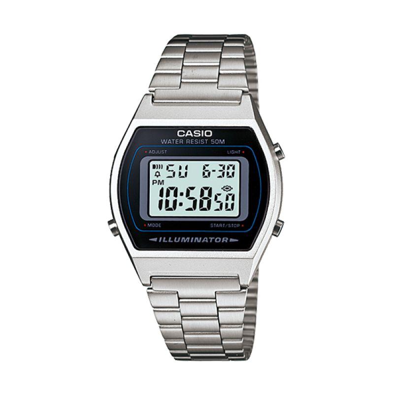 Casio Digital Casual B640WD 1A Silver Black Jam Tangan Pria