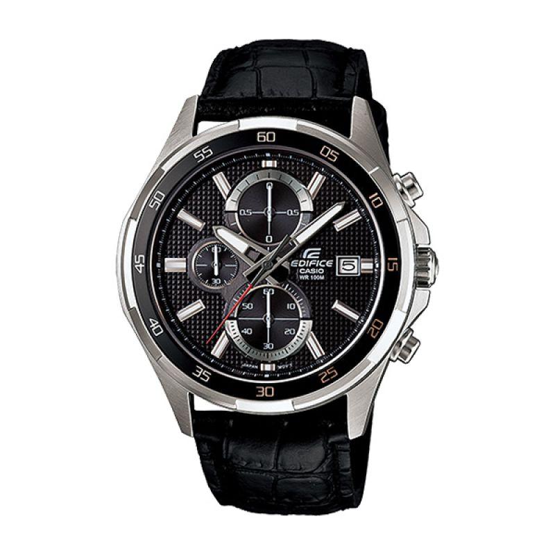 Casio Edifice EFR-531L-1AV Black Silver Jam Tangan Pria